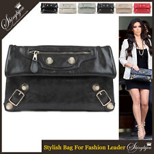Hollywood Style Motorcycle Golden Studs Handbag Clutch Wristlet Shoulder Bag