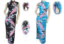 Peacock Pattern Chinese Silk Satin EveningDress Lady Cheongsam Size-S/M/L/XL/XXL
