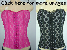 SEXY strapless polka dot tube top corset style black or pink