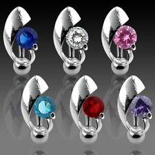 CENTERED GEM SHIELD TOP DOWN NAVEL BELLY RING ROUND CZ BUTTON PIERCING B62