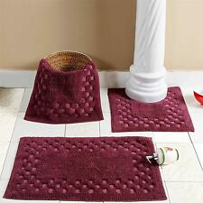 Purple Aubergine Washable Cotton Check Bath Mats Rugs Mat Bathroom Sets