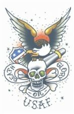 TINSLEY MIXED TATTOO MILITARY US EAGLE ANCHOR SKULL Fancy Dress COSTUME PARTY