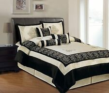 7 Piece Beige and Black Faux Silk Embroidered  Full size Comforter Set