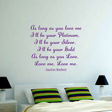 JUSTIN BIEBER AS LONG AS YOU LOVE ME LYRICS -  Vinyl Wall Art Sticker