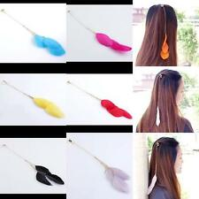 1PC Golden Tassels Chain Feather Faux Pearl Clip On Hair Punk Party Jewelry