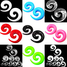 ACRYLIC FLESH TUNNELS SNAIL EAR PLUG SPIRAL STRETCHER 7 colours - 14 sizes NEW
