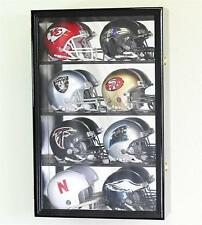 8 Riddell Mini Helmets Display Case Wall Rack Cabinet