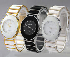 New Oval Style Men Womens Ceramic Stainless Steel Wrist Watch Crystal Quartz