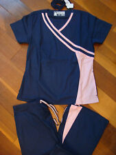 Rockhopper Princess Style Nursing Uniform Scrubs Set Navy / Pink XS small medium