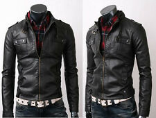 Vintage Biker Belted Rider Strap Pocket Fine Quality Slim Fit Leather Jacket