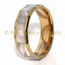 Tungsten Carbide Ring Gold IP Mother of Pearl Abalone Shell Inlay 8MM