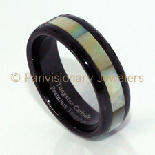 Tungsten Carbide Ring 6MM Black IP w Golden Mother of Pearl MOP Shell Inlay