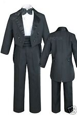 Baby Boy Child Teen Communion Formal Party Black Tail Tuxedo Suit New born - 20