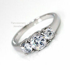 CZ Silver Engagement Ring 3 Stone Past, Present Future  Wedding 925  2.9 cttw