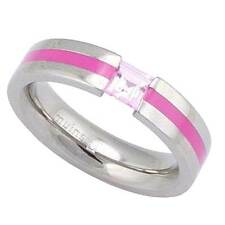 5mm Pipe Cut Grooved Titanium Band Princess Synthetic Pink Sapphire Wedding Ring
