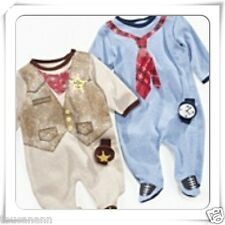 BABY BOYS 3-6-9 MONTH SHERIFF OR BUSINESSMAN OUTFIT & RATTLE ~ BABY BOY COVERALL