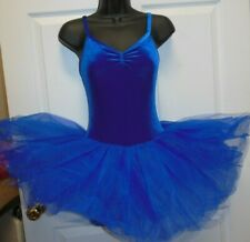 NWT Velvet Ballet Dance Costume Attached tutu Royal Blue ch/adult Pinch Front