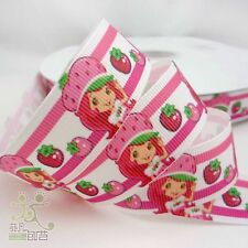 "7/8""22mm White Pink Strawberry Girl Grosgrain Ribbon Craft Hair Bow 5/100yards"