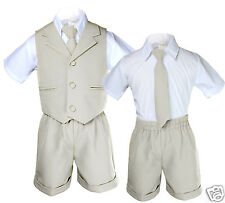 Light Khaki Color Boy Toddler Eton Formal Vest Shorts Outfits Suit Newborn to 4T