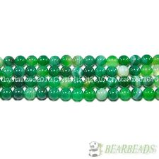 Natural Green Agate Gemstone Stripe Round Beads 15.5'' Strand 6mm 8mm 10mm 12mm