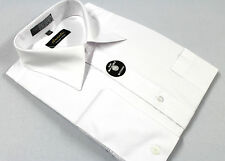 Mens French Cuff Dress Shirt Plain White Wrinkle-Free Cotton Blend Modern Fit