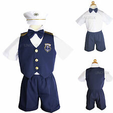 New  Infant  Boy & Toddler Navy Sailor Formal Shorts Suit Outfit white 0M - 3T