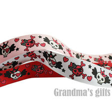 "1""25mm Skull Printed Grosgrain Ribbon 5/50/100 Yards Hairbow Wholesale"