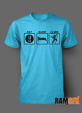 BNWT EAT SLEEP CLIMB ROCK CLIMBING MOUNTAIN  BIRTHDAY T SHIRT S-XXL PERSONALISED