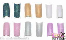 100 Glitter False Fake French Acrylic Nail Art Sparkle Tips  + Free Glue UK