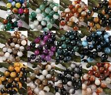 Agate Crystal Faceted Round Gem Loose Bead Gemstone Craft Finding 10mm 12mm 14mm