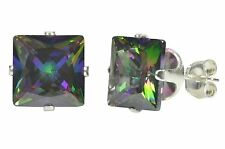 Square Mystic Topaz CZ Prong Stud Earrings .925 Sterling Silver