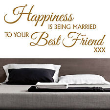 HAPPINESS IS BEING MARRIED TO YOUR BEST FRIEND - Vinyl Wall Art Sticker Decal