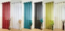 NEW EYELET PLAIN LINEN LOOK BOSTON COLOURED VOILE PANELS USE WITH POLES OR RODS