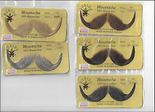 Handlebar Mustache Real Human Hair Moustache Halloween Costume Accessory 2013