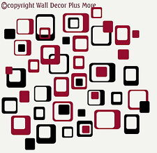 "Funky R/ Squares Wall Stickers Vinyl Decal 6"" 2color Retro Mod Shapes Peel-n-Stk"