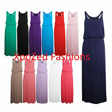 New Women's Girls Puff Ball Racer Back Ladies Elasticated Waist Maxi Dress SM/ML