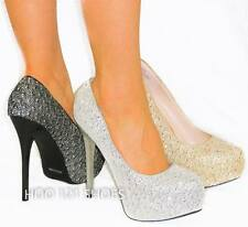 Sexy Sparkle Glitter Embroidery Pumps *Round Toe Sky High Stiletto Heel Platform