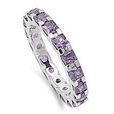 Princess Cut Amethyst Eternity Wedding Band .925 Sterling Silver Ring Sizes 5-10