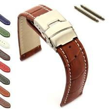 Men's Genuine Leather Watch Strap Band Croco Deployment Clasp, Spring Bars