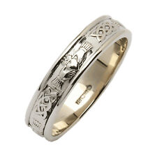 Mens Narrow Rounded Claddagh Wedding Ring-Silver-From Ireland