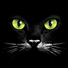 Black Cat Face with Green Eyes T Shirt Kitty Tee