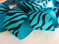 "5 /25 yards Grosgrain 1.5"" Craft Ribbon-Wild Animal Zebra Strip R141-Blue/Black"