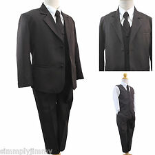 Dark Brown New Baby Toddler Boy Party Formal Tuxedo 5 PC Suit S M L XL 2T 3T 4T