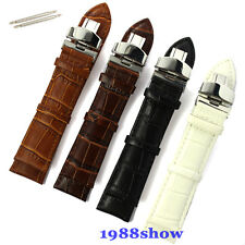 New 18 20 22 24 mm Leather Deployant Bracelet Stainless Buckle Watch Band Strap