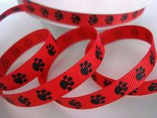 "5 OR 25 yard Roll Mini Dog Paw 3/8"" Grosgrain Print Ribbon/9 mm/craft R81-38-Red"