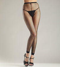 Footless Tights Fishnet Industrial Black Reg or Plus XL Queen Be Wicked! 597 625