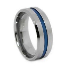Thin Blue Line Tungsten Carbide Ring Blue IP 8MM Flat Profile with Beveled Edges