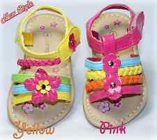 Toddler Girls Sandals, Strappy Floral, Rainbow, Yellow, Pink Blue, Summer