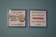Unique PERSONALISED Happy Birthday LUCKY SIXPENCE Special Brother Gift Card New