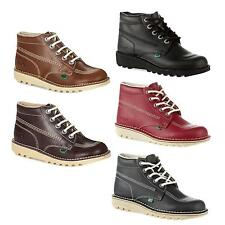 Kickers Kick Hi Junior Kids Lace Up Leather Boots School Work Formal Sizes UK3-6